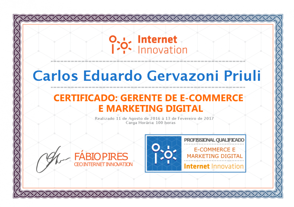 Certificato Ecommerce e Marketing Digitale Carlos Eduardo Priuli