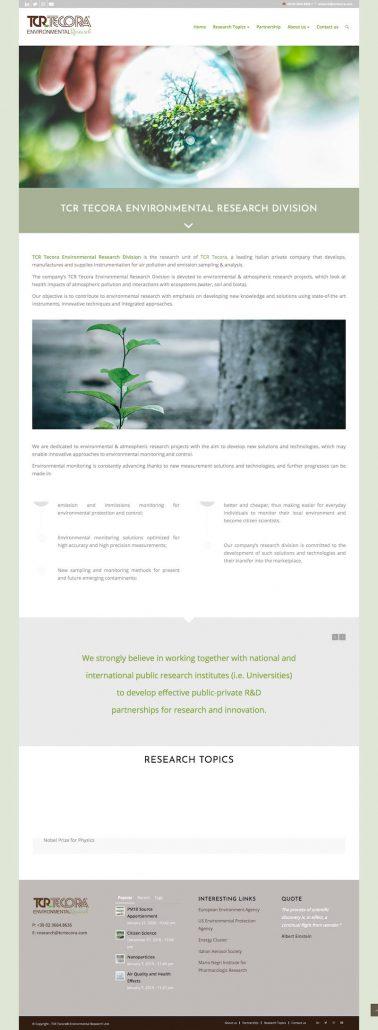 Website Environmental Research TCR Tecora by WebPriuli