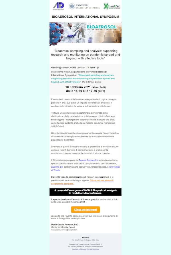 Email Marketing Campaign Bioaerosol Event XEarPro, WebPriuli