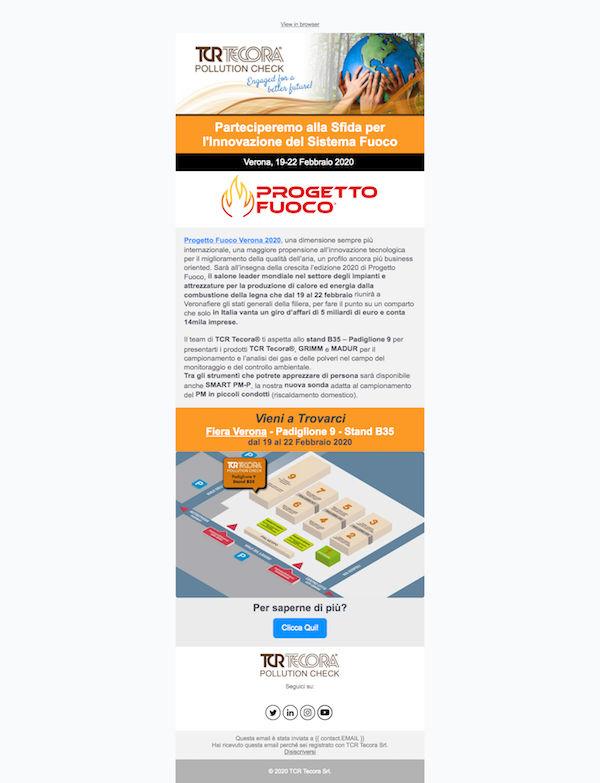 Email Marketing Campaign Progetto Fuoco TCR Tecora, WebPriuli